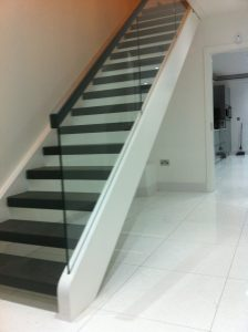 modern straight open tread stairs Ireland