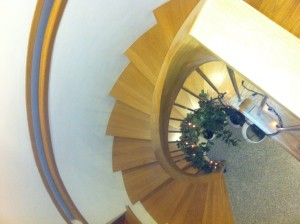 Oak stairs decorated for Christmas