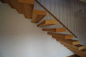 Cantilevered stairs, staircase, jea, design, irish, oak balustrade