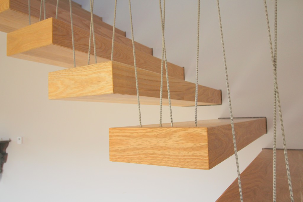 floating oak treads stairs open risers
