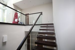 Timber and glass balustrade modern stairs
