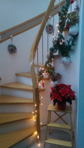 Curved Oak Christmas Stairs