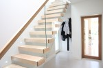 Stairs Ireland: Modern Oak Cantilevered Stairs with Glass Passtrue Balastrade and floating oak handrail