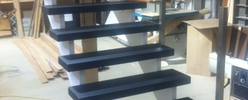 Modern Cut String Open Rise Stairs ready for installation in Dublin