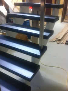Modern cut string open rise stairs