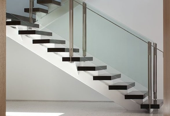 Mono String stairs in hardwood steel and glass