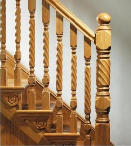 Oak Roped or twisted style newels and spindles stairs