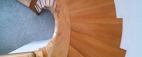 Oak & Stainless Steel modern curved stairs