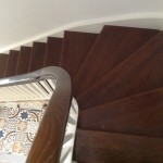 Traditional staircase in dark oak and white