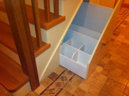 Cut string stairs with under stair storage