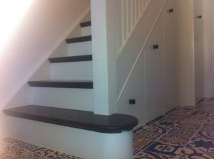 straight stairs ireland with painted risers and under stair storage hardwood treads